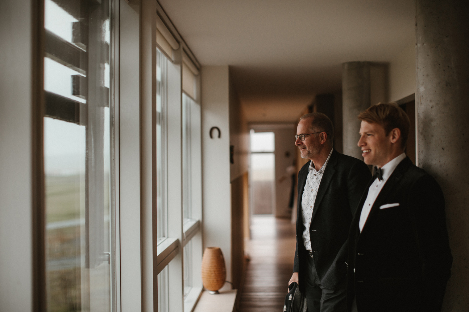Father and Groom sharing a moment together before Iceland Wedding