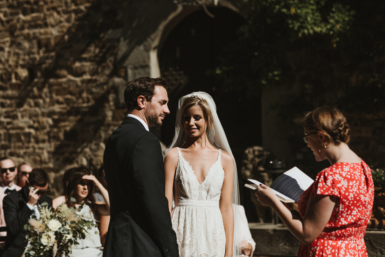 Bride and Groom at tuscan castle wedding