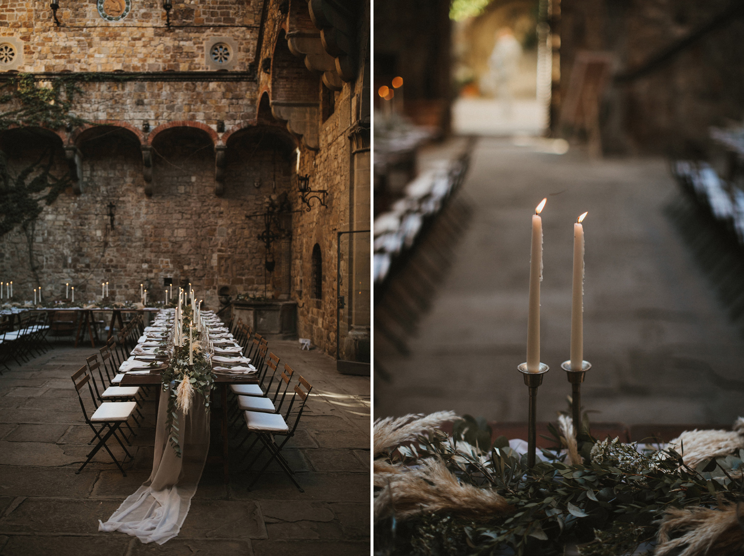 Beautiful Italian wedding reception decor, Castello Di Vincigliata
