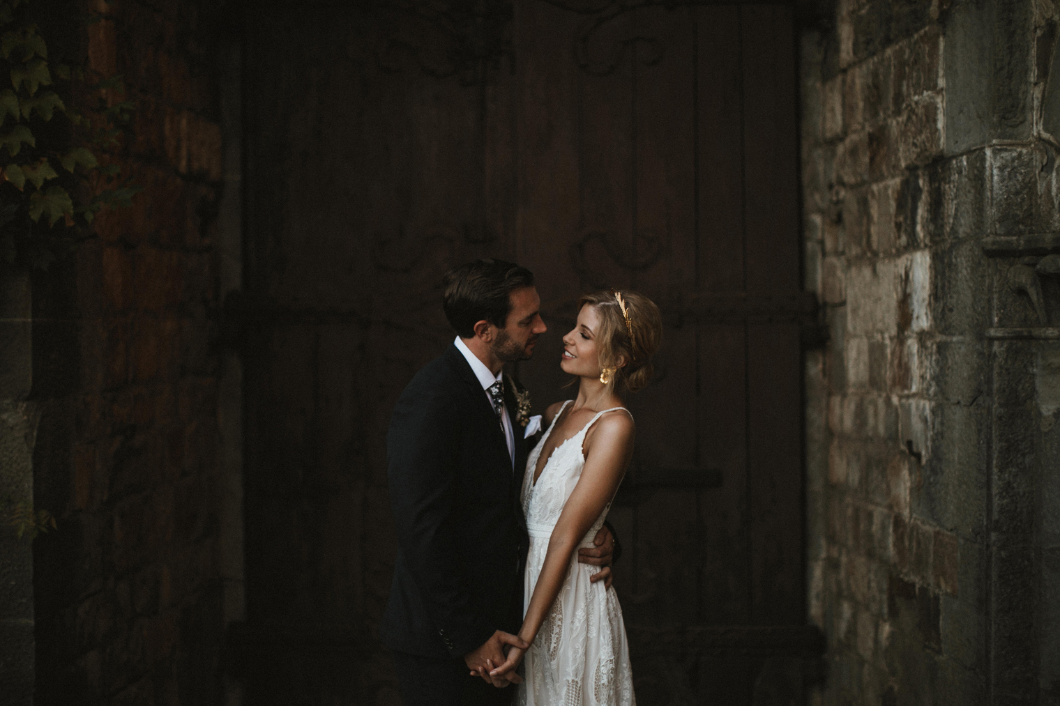Beautiful bride and groom at their Tuscan Wedding