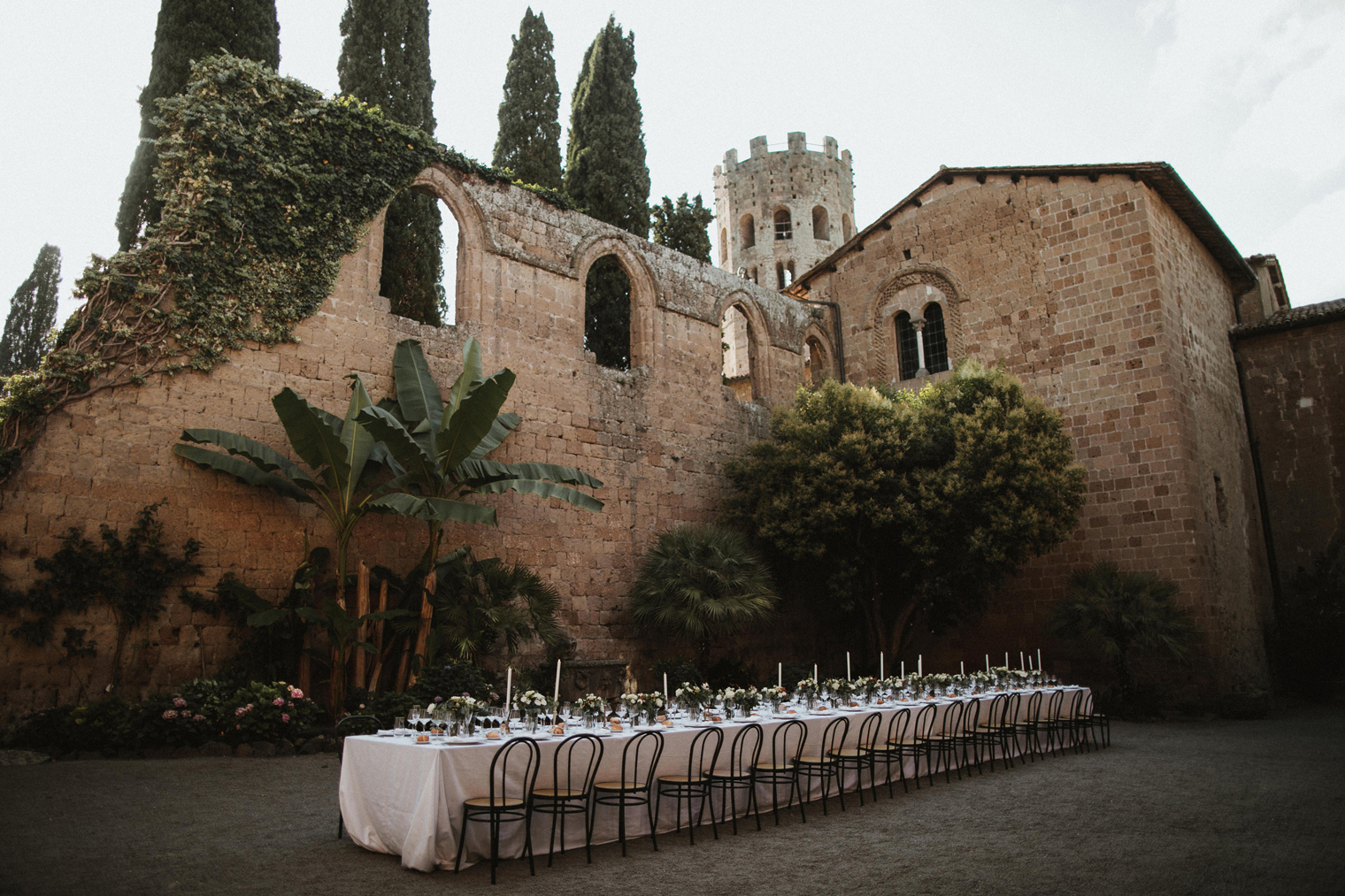 evening dinner reception setup in Umbrian wedding venue La Badia Di Orvieto