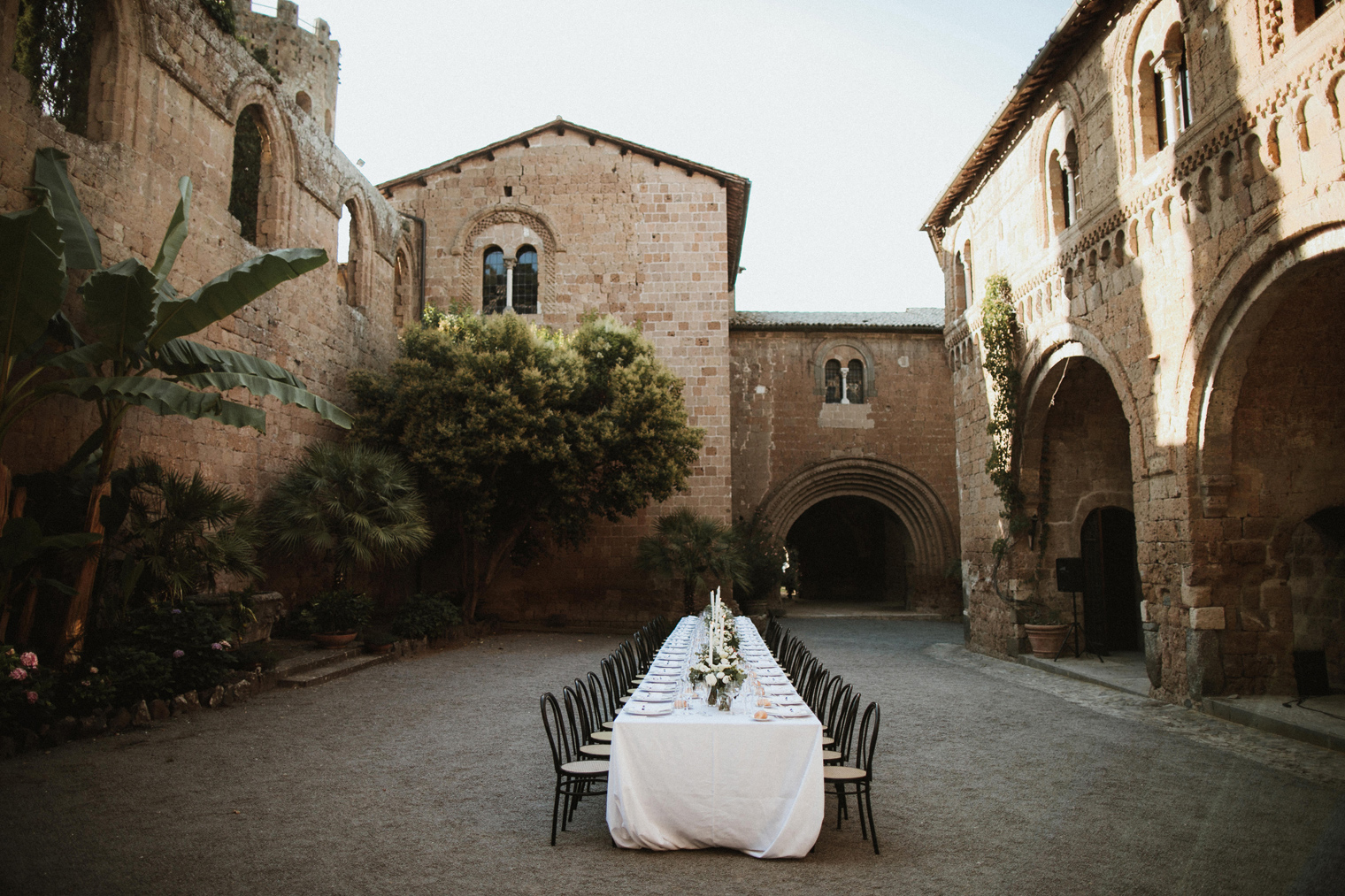 Italian castle wedding dinner reception