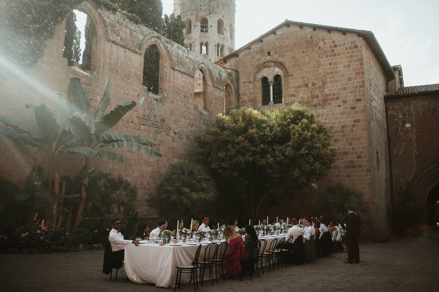 Romantic Italian dinner reception at Umbrian wedding venue