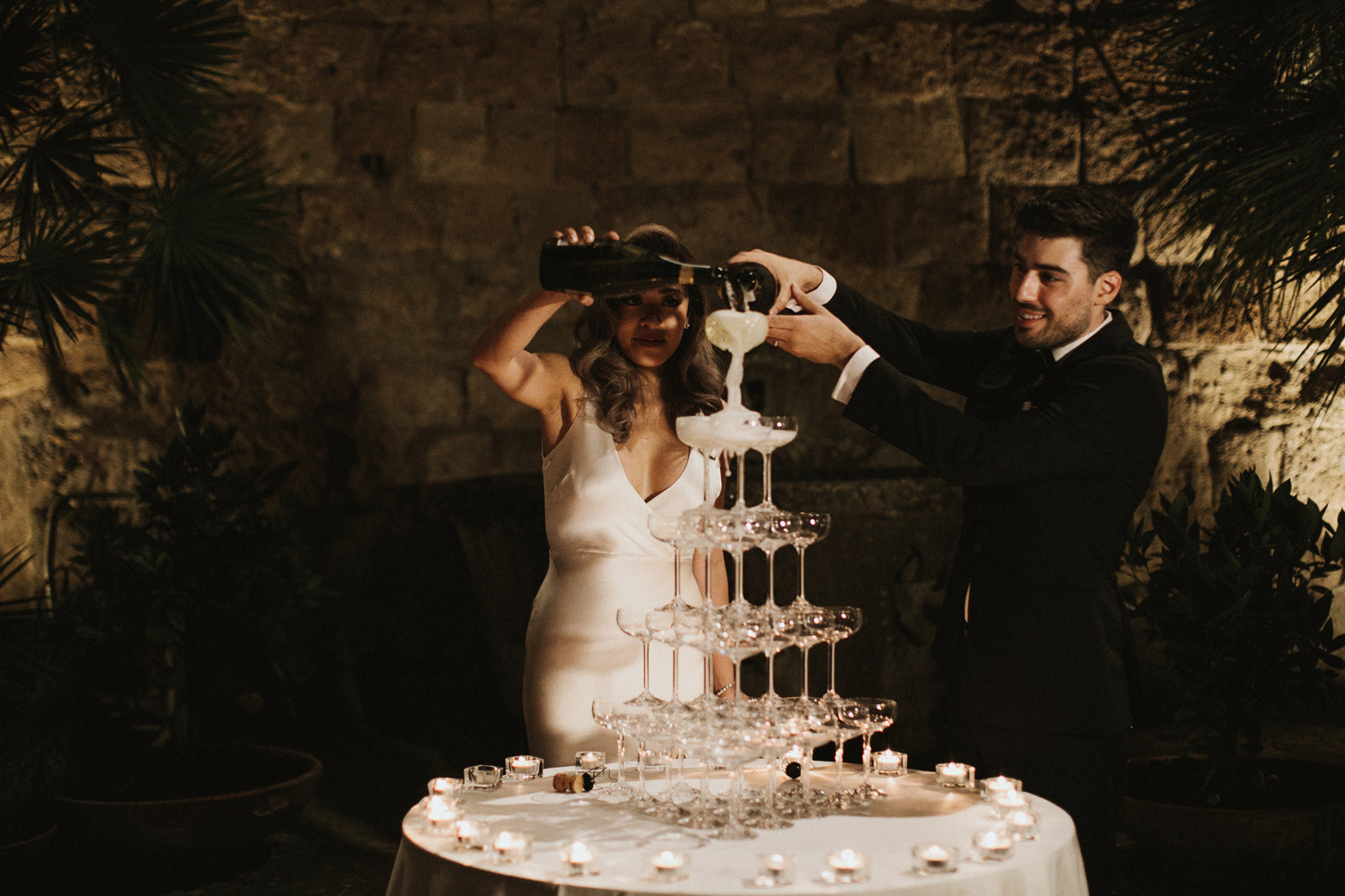 Prosecco Tower during wedding reception
