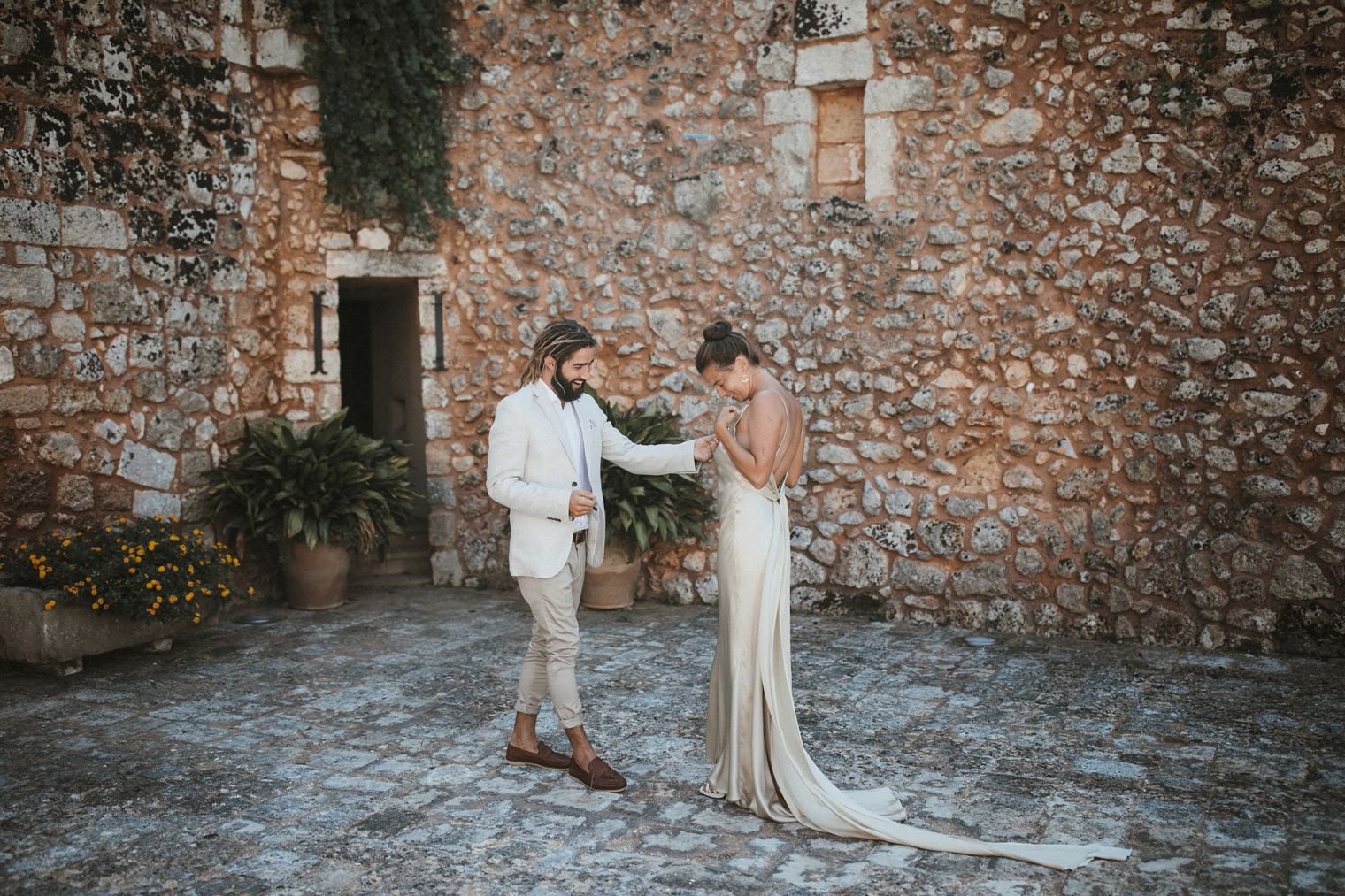Bride and Groom first look in Gallipoli before their intimate Italian wedding