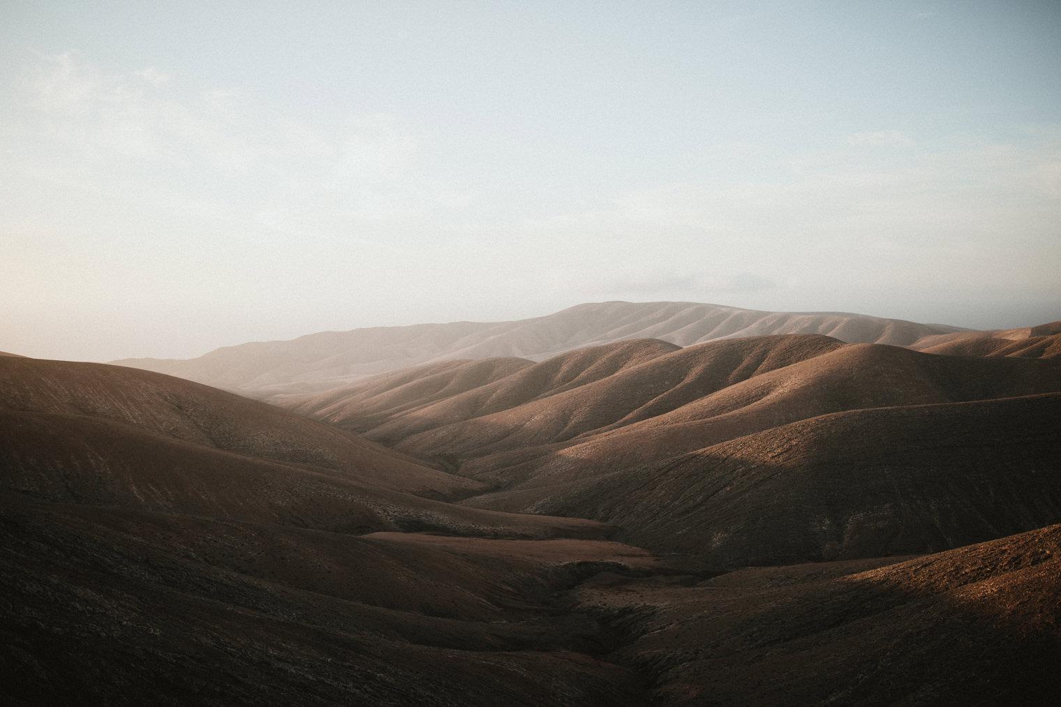 Sun on the hills in Fuerteventura