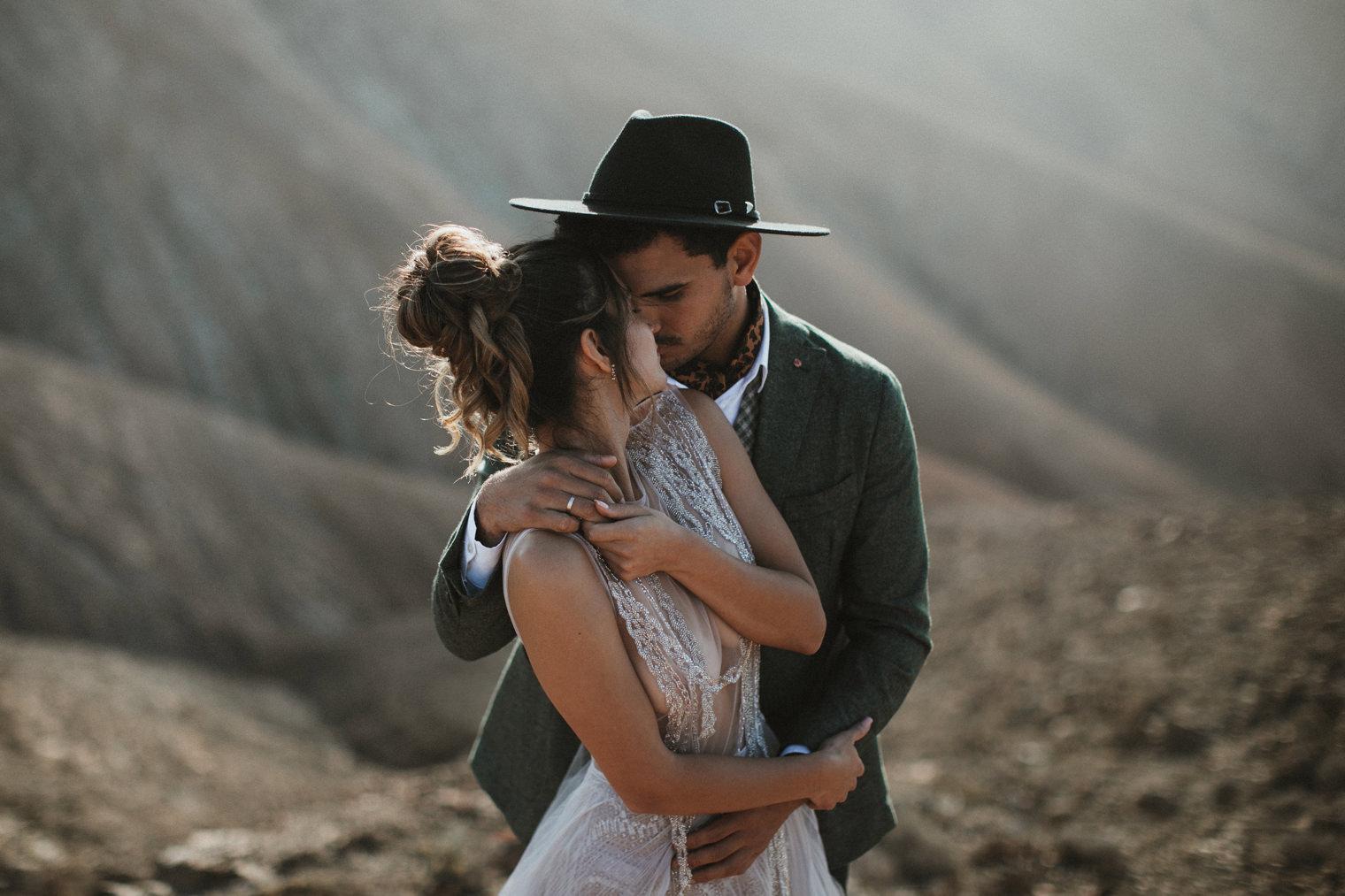 Bride and Groom holding each other in Fuerteventura during a Fuerteventura elopement shoot